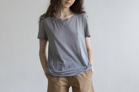 Grey Basic T Shirt Short Sleeves