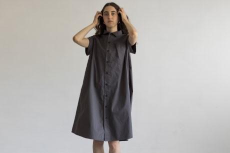 Dark Grey A Line Button Dress