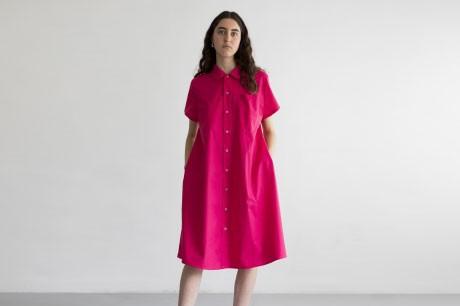 Pink A Line Button Dress